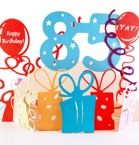 Happy 85th Birthday With Lots of Presents 3D Pop Up Greeting Card 1 front