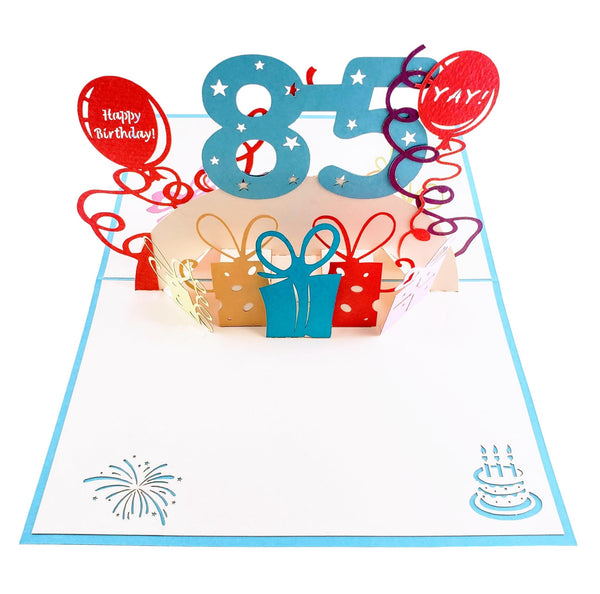 Happy 85th Birthday With Lots of Presents 3D Pop Up Greeting Card 2