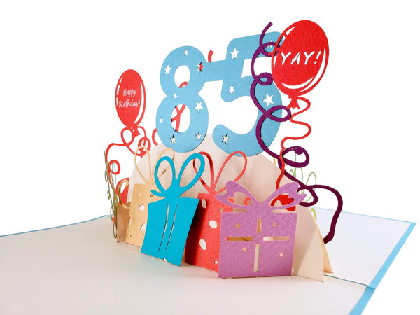 Happy 85th Birthday With Lots of Presents 3D Pop Up Greeting Card 3