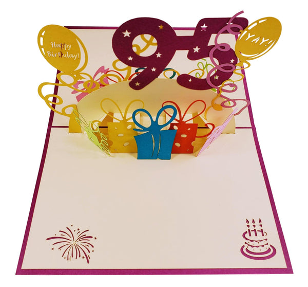 Happy 95th Birthday With Lots of Presents 3D Pop Up Greeting Card 2