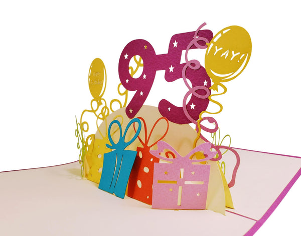 Happy 95th Birthday With Lots of Presents 3D Pop Up Greeting Card 3