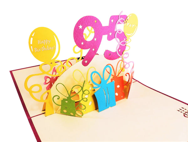 Happy 95th Birthday With Lots of Presents 3D Pop Up Greeting Card 4