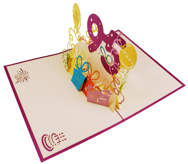 Happy 95th Birthday With Lots of Presents 3D Pop Up Greeting Card 5