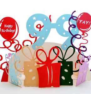 Happy 99th Birthday With Lots of Presents 3D Pop Up Greeting Card 1 front