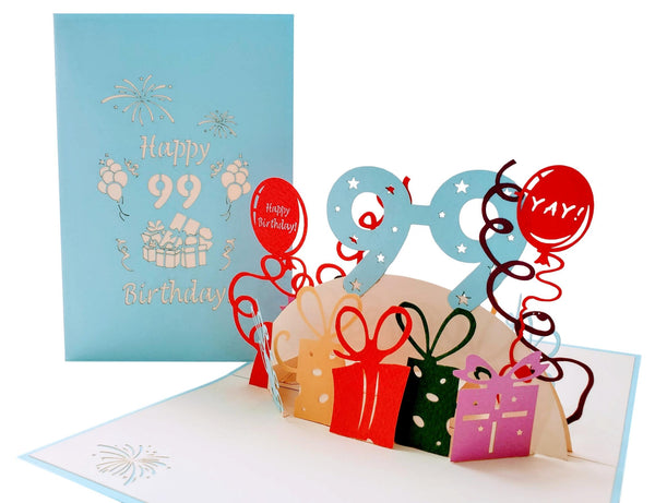 Happy 99th Birthday With Lots of Presents 3D Pop Up Greeting Card 2