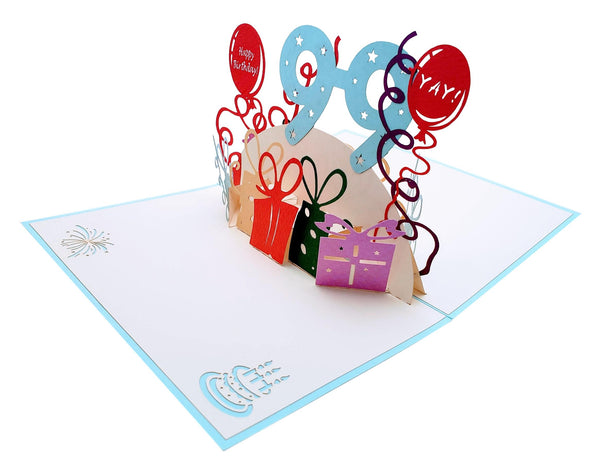 Happy 99th Birthday With Lots of Presents 3D Pop Up Greeting Card 3