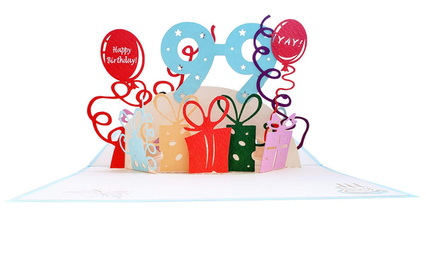 Happy 99th Birthday With Lots of Presents 3D Pop Up Greeting Card 4
