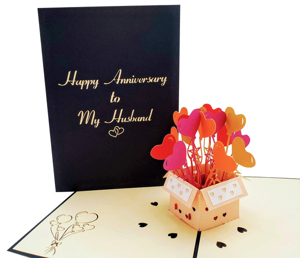 Happy Anniversary to My Husband 3D Pop Up Greeting Card 2
