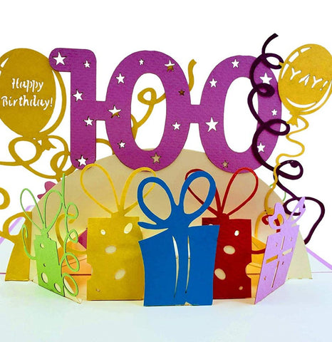 Happy 100th Birthday With Lots of Presents 3D Pop Up Greeting Card 1 front