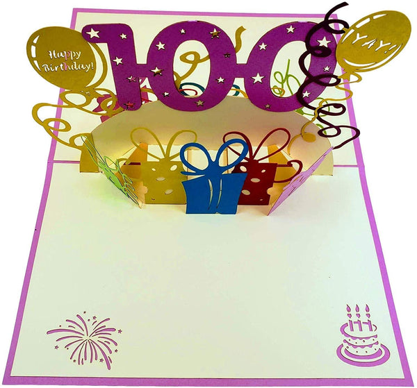 Happy 100th Birthday With Lots of Presents 3D Pop Up Greeting Card 2