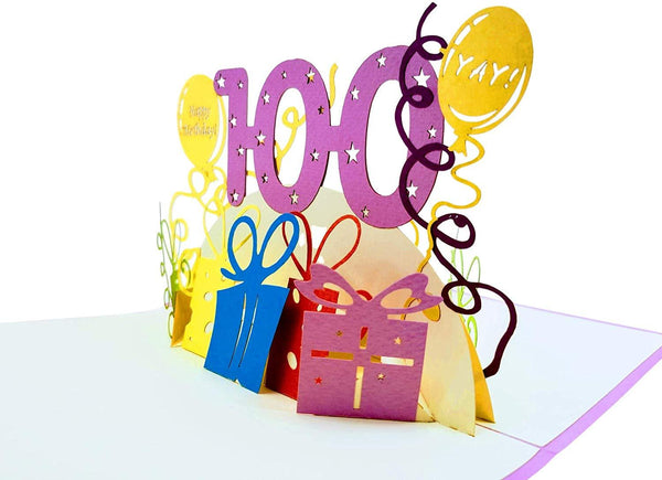 Happy 100th Birthday With Lots of Presents 3D Pop Up Greeting Card 3