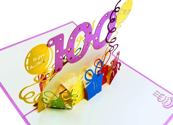 Happy 100th Birthday With Lots of Presents 3D Pop Up Greeting Card 4