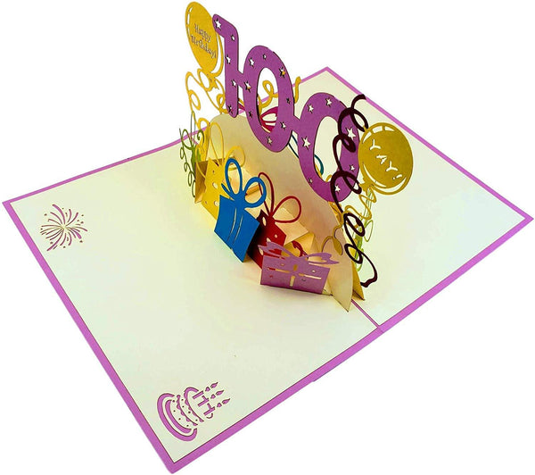 Happy 100th Birthday With Lots of Presents 3D Pop Up Greeting Card 5