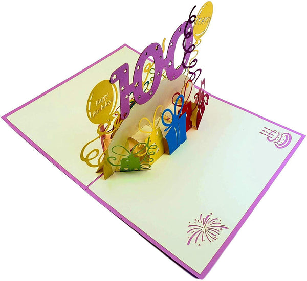 Happy 100th Birthday With Lots of Presents 3D Pop Up Greeting Card 6