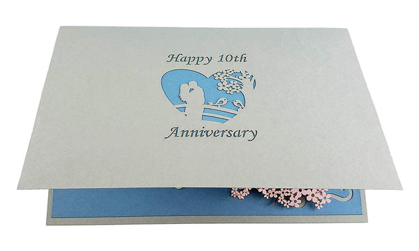 Happy 10th Anniversary 3D Pop Up Greeting Card 8