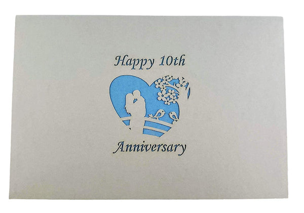 Happy 10th Anniversary 3D Pop Up Greeting Card 9
