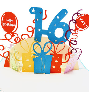 Happy 16th Birthday with Presents 3D Pop Up Greeting Card 1 front