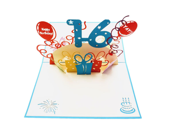 Happy 16th Birthday with Presents 3D Pop Up Greeting Card 2