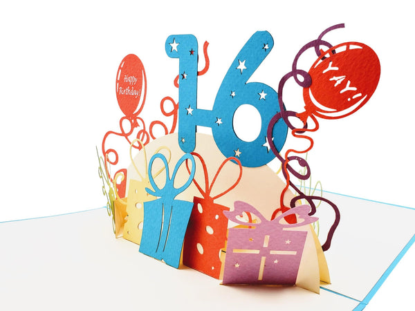 Happy 16th Birthday with Presents 3D Pop Up Greeting Card 3
