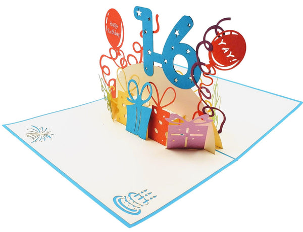 Happy 16th Birthday with Presents 3D Pop Up Greeting Card 4
