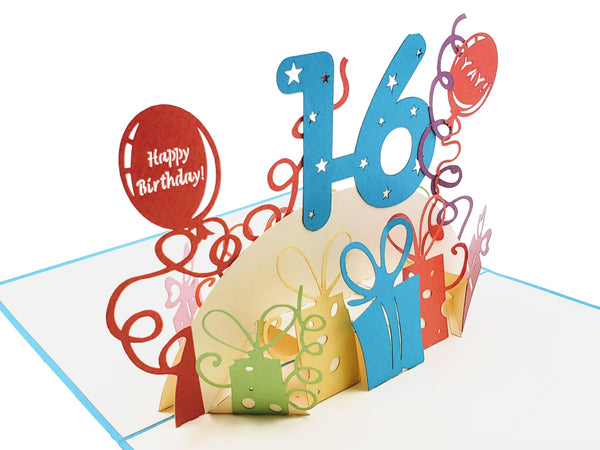 Happy 16th Birthday with Presents 3D Pop Up Greeting Card 5