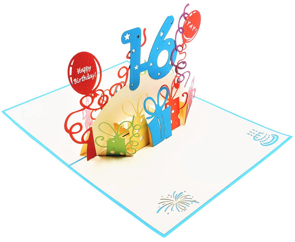 Happy 16th Birthday with Presents 3D Pop Up Greeting Card 6