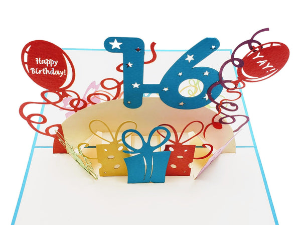 Happy 16th Birthday with Presents 3D Pop Up Greeting Card 7
