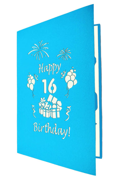 Happy 16th Birthday with Presents 3D Pop Up Greeting Card 8