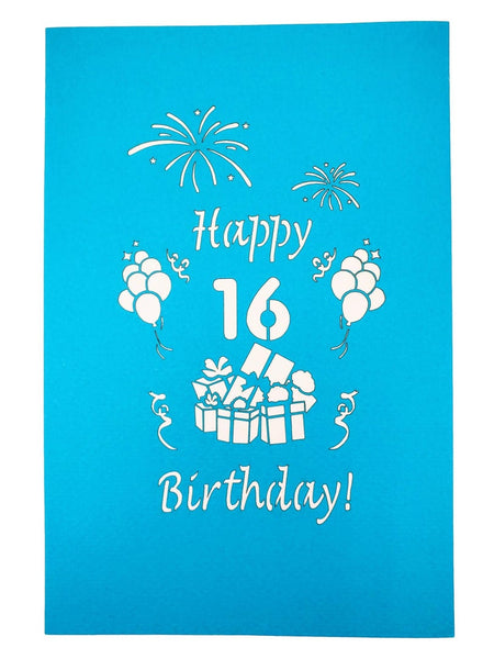 Happy 16th Birthday with Presents 3D Pop Up Greeting Card 9