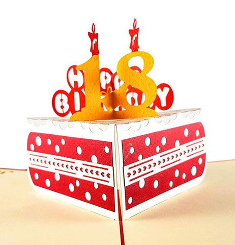 Happy 18th Birthday Cake 3D Pop Up Card 1 front