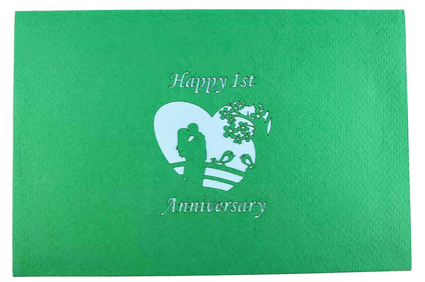 Happy 1st Anniversary 3D Pop Up Greeting Card 9