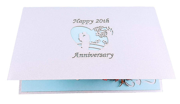 Happy 20th Anniversary 3D Pop Up Greeting Card 7