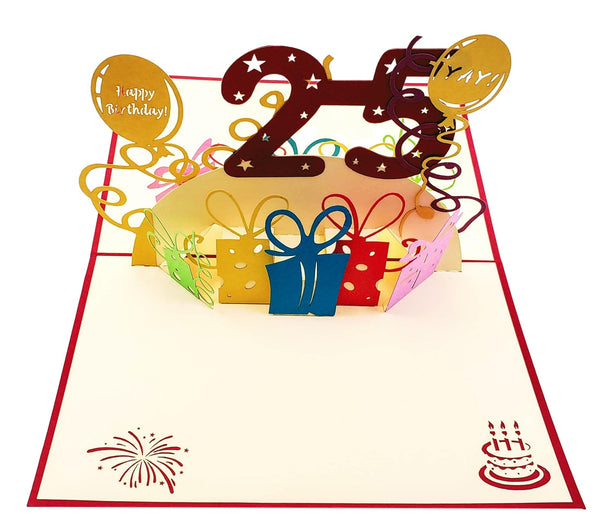 Happy 25th Birthday With Lots of Presents 3D Pop Up Card 2