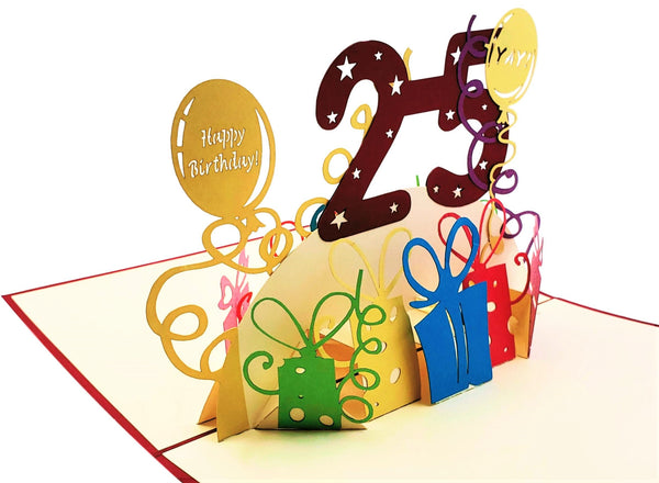 Happy 25th Birthday With Lots of Presents 3D Pop Up Card 4