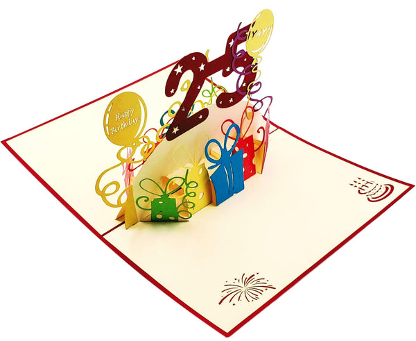 Happy 25th Birthday With Lots of Presents 3D Pop Up Card 6