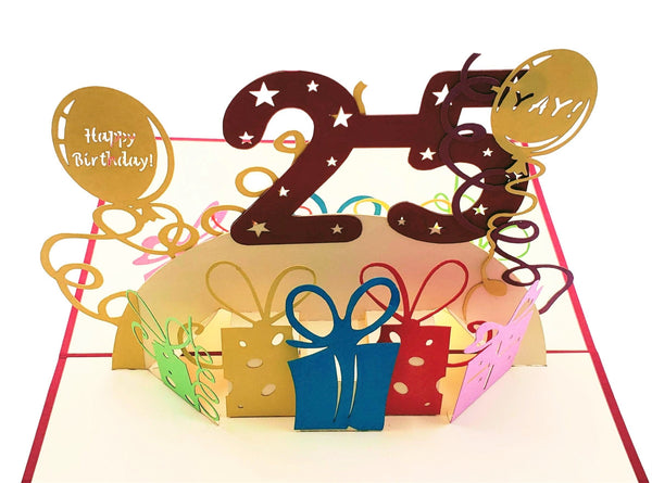 Happy 25th Birthday With Lots of Presents 3D Pop Up Card 7