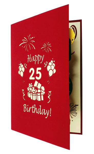 Happy 25th Birthday With Lots of Presents 3D Pop Up Card 8
