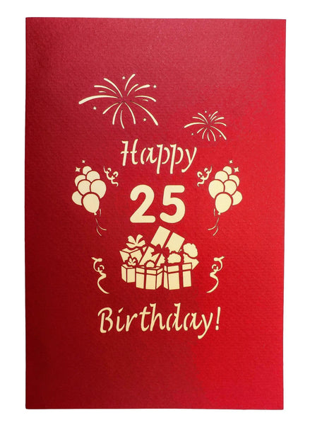Happy 25th Birthday With Lots of Presents 3D Pop Up Card 9