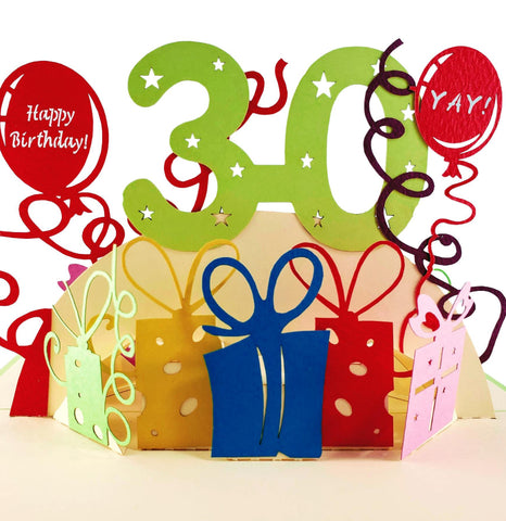 Happy 30th Birthday With Lots of Presents 3D Pop Up Greeting Card 1 front