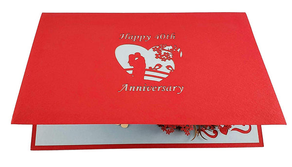 Happy 40th Anniversary 3D Pop Up Greeting Card 7