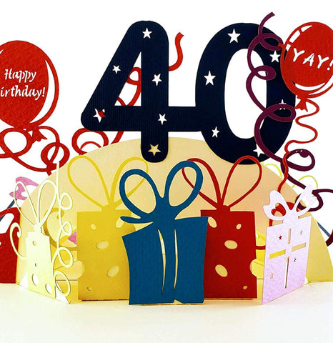 Happy 40th Birthday With Lots of Presents 3D Pop Up Greeting Card 1 front