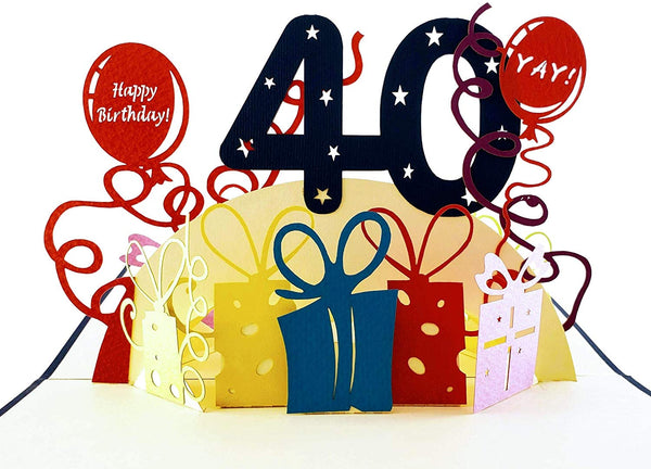 Happy 40th Birthday With Lots of Presents 3D Pop Up Greeting Card 1