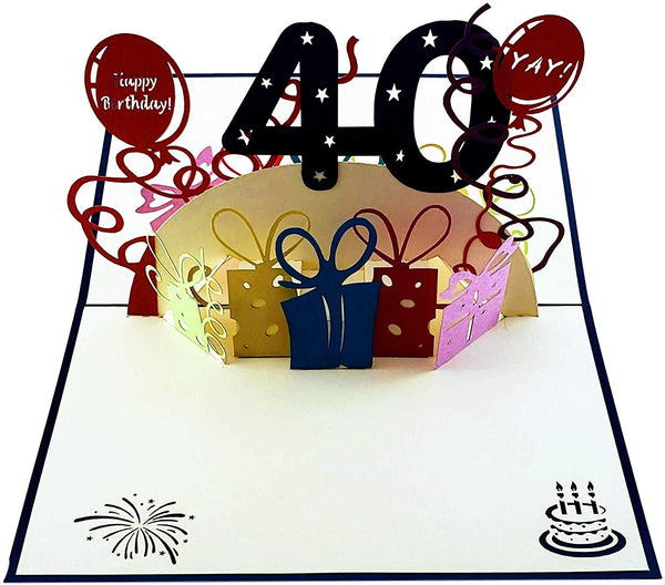 Happy 40th Birthday With Lots of Presents 3D Pop Up Greeting Card 2