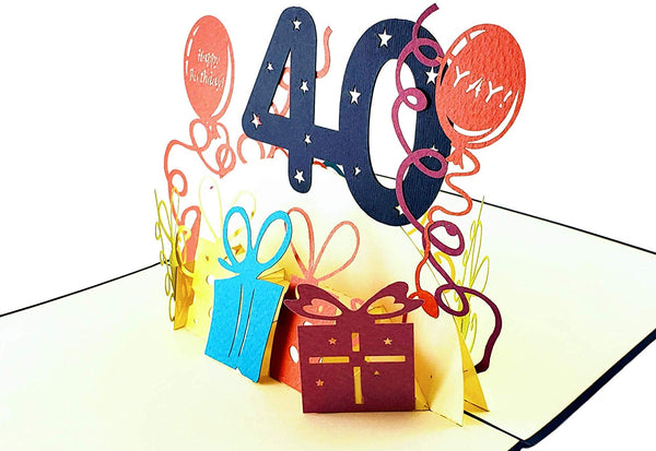 Happy 40th Birthday With Lots of Presents 3D Pop Up Greeting Card 3