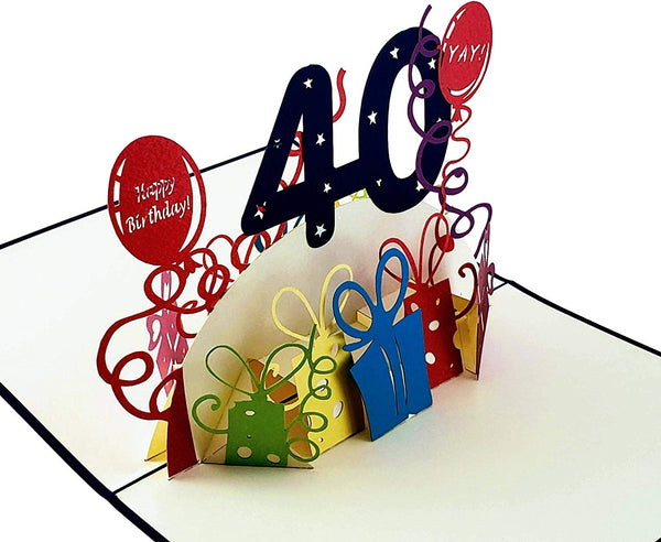 Happy 40th Birthday With Lots of Presents 3D Pop Up Greeting Card 4