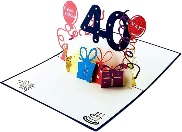 Happy 40th Birthday With Lots of Presents 3D Pop Up Greeting Card 5