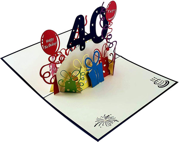 Happy 40th Birthday With Lots of Presents 3D Pop Up Greeting Card 6