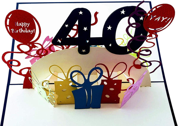 Happy 40th Birthday With Lots of Presents 3D Pop Up Greeting Card 7