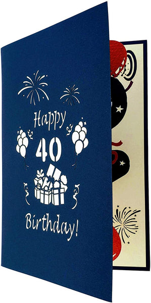Happy 40th Birthday With Lots of Presents 3D Pop Up Greeting Card 8