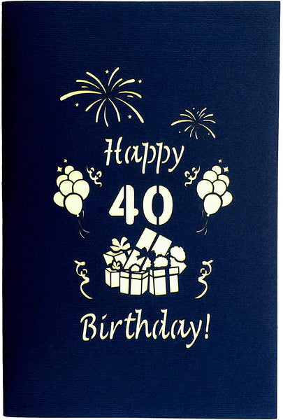 Happy 40th Birthday With Lots of Presents 3D Pop Up Greeting Card 9